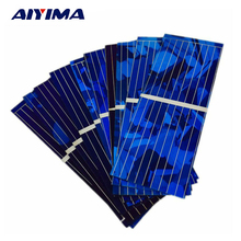 AIYIMA 100pcs Solar Panel Cells 0.5V 320mA 52x19mm Color Crystal Solars Module DIY Solar Battery Charger Power Bank China