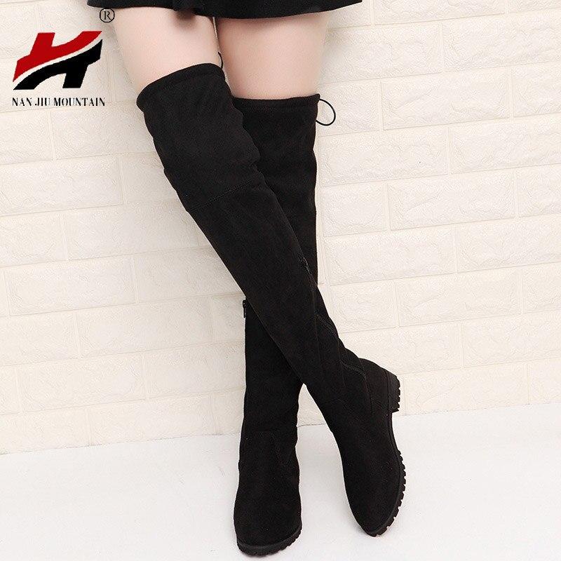 2017 Slim Boots Sexy sobre la rodilla de gamuza botas de nieve de las mujeres de moda invierno muslo botas altas zapatos mujer