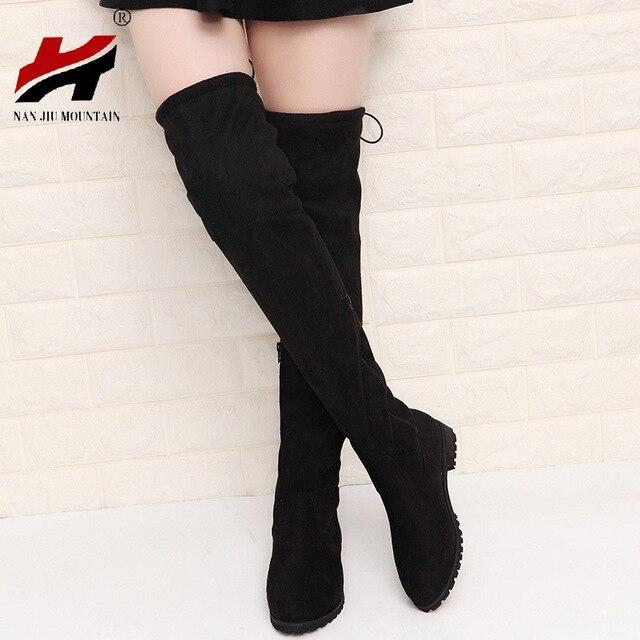 2017 ضئيلة مثير على الأحذية في الركبة عالية من جلد الغزال النساء الثلوج المرأة أزياء الشتاء الفخذ أحذية عالية أحذية امرأة