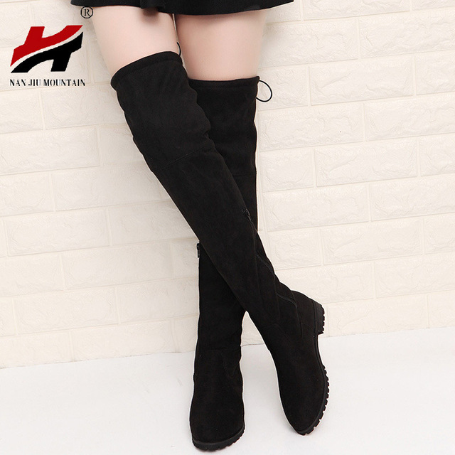 Slim Giày Gợi Cảm Trên Đầu Gối Da Lộn Cao Cấp Nữ Ủng nữ Thời Trang Mùa Đông Đùi Giày Boots Cao Người Phụ Nữ