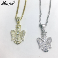 Missfox Golden Gem Guardian Angel Pendant Necklace Ladies Attract Lab Diamond Trendy Charming Angel Style Jewelry Hot Selling