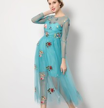 flower embroidery blue summer maternity dress night part dresses for pregnant women maternity photography props dress cute
