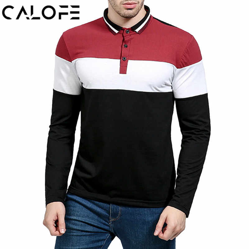 518d8535b3ee CALOFE Brand Spring Polo Shirt Men Fashion Long Sleeve Streetwear Mens  Clothing Casual Striped Patchwork Slim