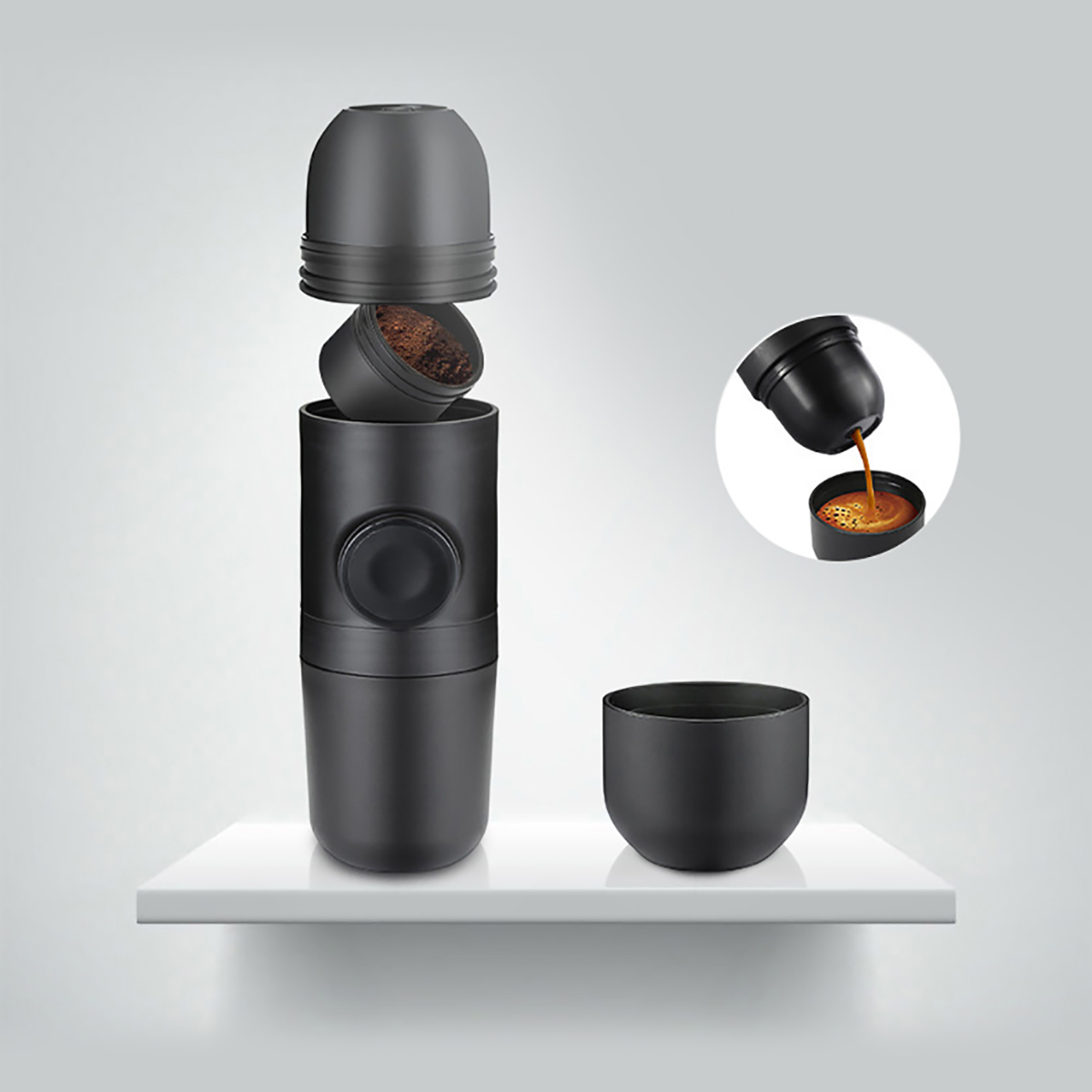 Mini Machine à café en acier inoxydable Machine à expresso Portable Cafeteira pression de café en plein air pour voiture Presses françaises Semi-main