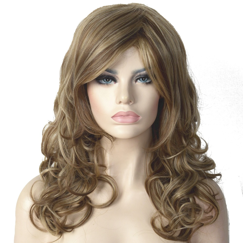 StrongBeauty Women's Wigs Natural Blonde Mix Long Curly Hair Synthetic Full Wig