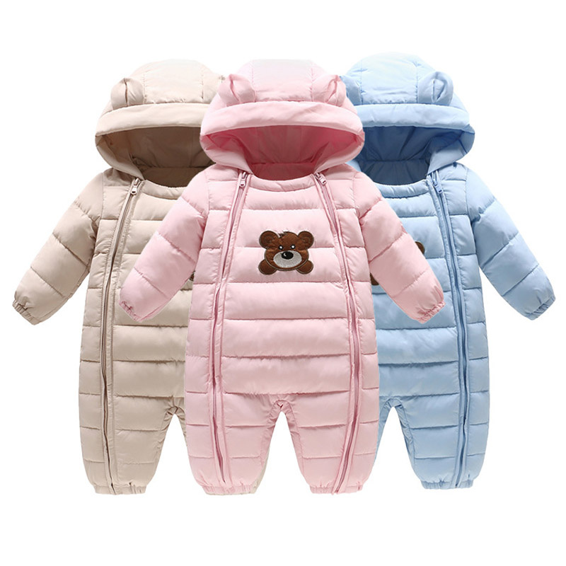 Baby Winter Clothes Girl Boy Romper Warm Baby Winter Jumpsuit Cute Bear Outerwear Clothing Colorful Snowsuit Baby Overalls 0 18m baby girl winter rompers baby clothes rabbit warm hooded jumpsuit overalls snow outfits enfants girls clothing outerwear