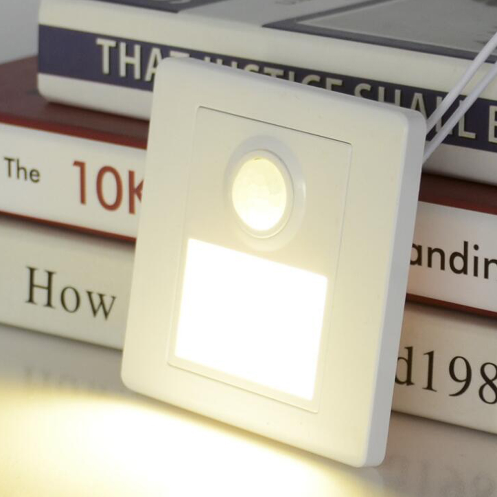 Night Light LED Stair Light PIR Sensor Motion Detector Intelligent Wall Lamp Recessed Steps Ladder  Wall Lamps Footlight White
