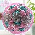 Фиолетовый Белый брошь букет кристалл Люкс Свадебный Букет на заказ Творческий Невесты букеты