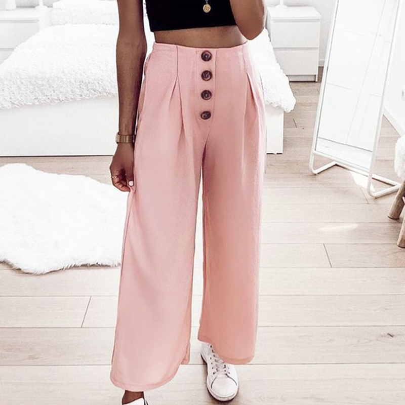 Missufe Loose Trousers Summer Casual High Waist   Wide     Leg     Pants   Women Elastic Waist Ruched Button Ankle-length   Pants   Pantalones