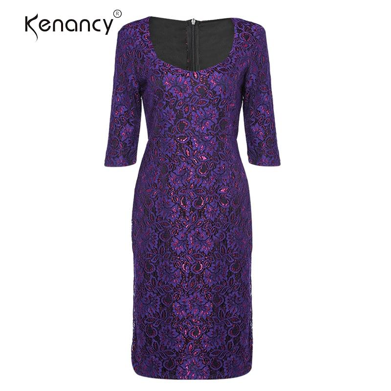 e7c361b6dd96 Comprar Kenancy 4XL Plus tamaño de vestido de las mujeres Sexy Collar  cuadrado abertura en la espalda mitad mangas rodilla longitud vaina  vestidos Online ...