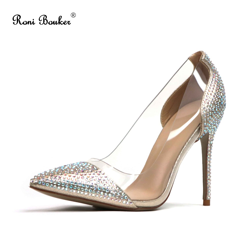 Fashion Women Pointed Toe High heels Silver Wedding Party Crystal Shoes Handmade Glittering Rhinestones Ladies Pumps Drop ship aidocrystal silver color open toe pumps ladies high heels wedding party crystal slingback shoes with matching bag