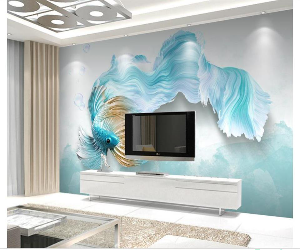 Custom 3D Photo Wallpaper Mural Non-Woven Living room TV Sofa Background Wall paper Abstract Blue Guppy 3D Wallpaper Home Decor custom 3d wallpapers mural non woven fabric 3d room wallpaper forest road 3 d space background wall photo 3d wall home decor