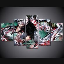 5 Panels Wall Art Anime Tokyo Ghoul Ken Kaneki 5 Pieces Paintings Canvas Poster Unframed 9004