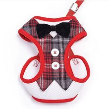 2016 New Quality Puppy Plaid Dog Harness Pet Designer Couple Dog Harness with Bow Fashion Tartan Harness Vest for Small Dogs