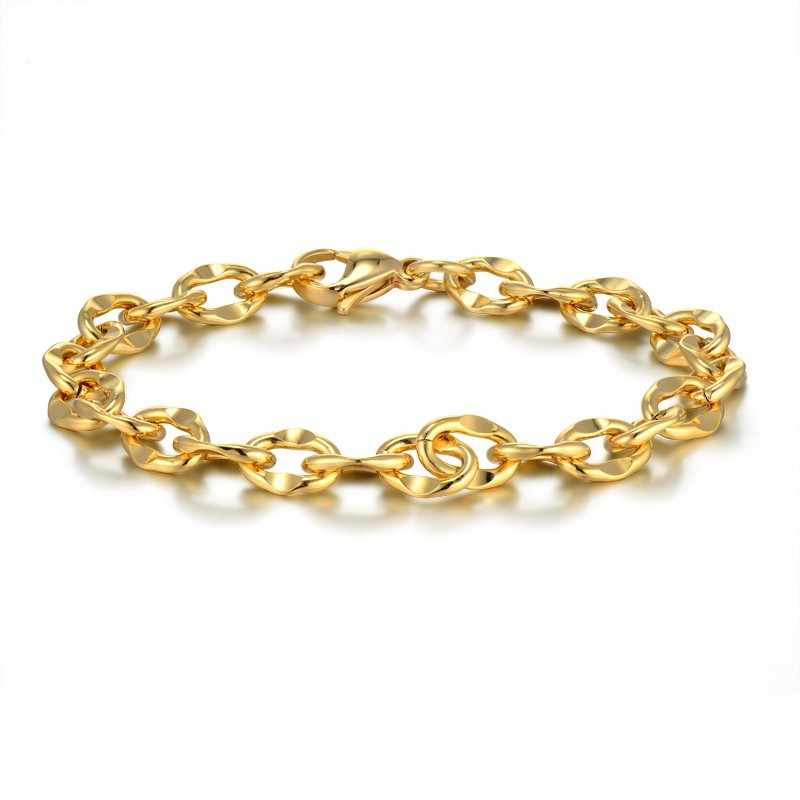 6mm 20cm Trendy Braclets For Women Mens Stainless Steel Jewelry Gold Color Link Cuban Chains Wholesale Braslet Man Women 2018