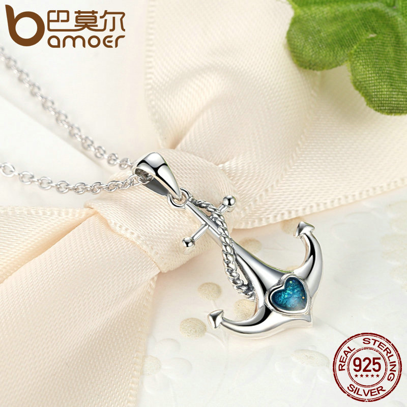 BAMOER Classic 925 Sterling Silver Blue Heart Crystal Anchor Pendant Necklaces Women Fashion Jewelry Engagement SCN051 BAMOER Classic 925 Sterling Silver Blue Heart Crystal Anchor Pendant Necklaces Women Fashion Jewelry Engagement SCN051