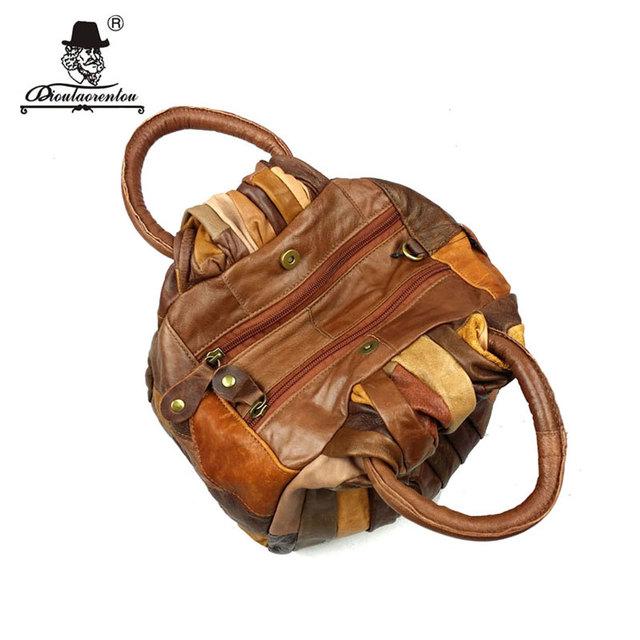 DIOULAORENTOU Patchwork Women Leather Handbags Vintage Small Ladies Hand Bags Girls Soft Genuine Leather Shoulder Bag Ladybag