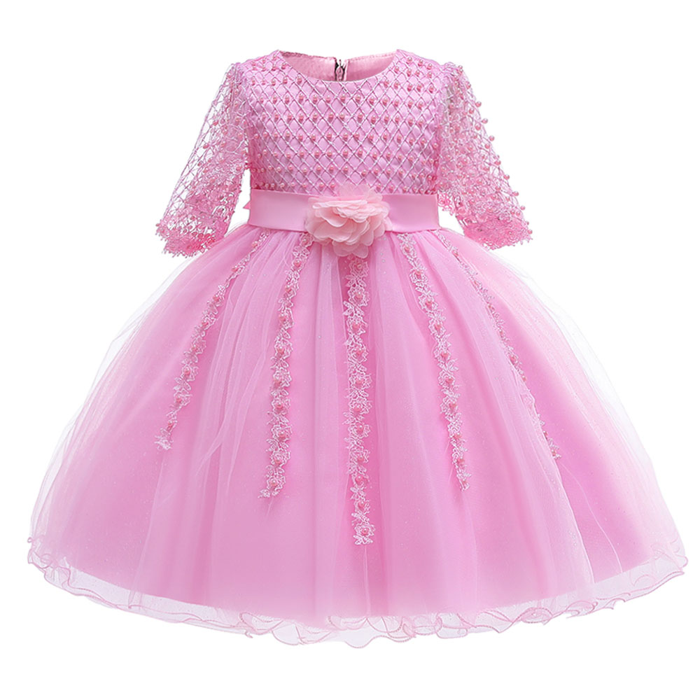 Five-point sleeve bead baby costume   girls   first communion   dress   ball gown kids pageant clothes children's clothing pageant   dress