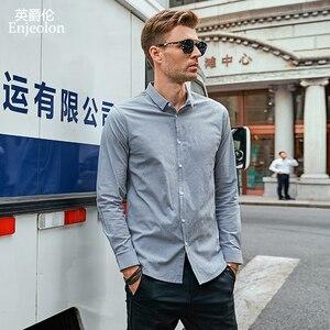 Image 3 - Enjeolon marka sonbahar Camisa Masculina pamuk gömlekler erkekler katı gömlek erkek 3XL bluz uzun kollu gömlek erkekler için CX2517 1