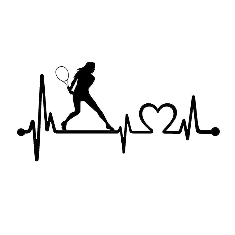16.7CM*8CM Ladies Tennis Racquet Heartbeat LifelineVinyl Car Sticker Decor Decal S9-0308