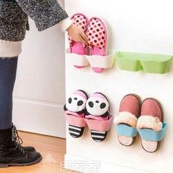 Cremalheiras de sapato de plástico suporte de parede sapatos gabinete auto-adesivo display prateleira organizador rack de parede