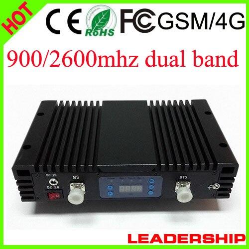 RF 27dbm 75db 2G+4G GSM 900MHZ LTE 2600MHZ Dual Band 1W Cell/mobile Phone Repeater Booster Detector Repetidor Amplifier