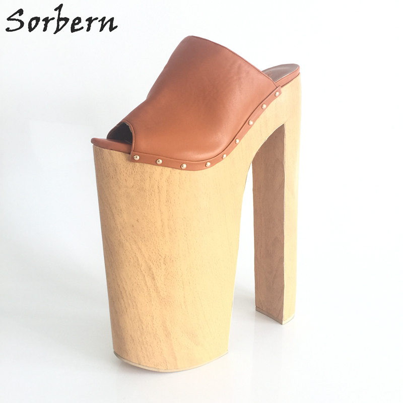 b04749ba0bf Sorbern Brown Women Sandal Extrem High Heels 35Cm Thick Platform 25Cm Open  Toe Slides Shoes Women Runway Shoes Size 12