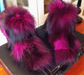 Europe New luxury Blue Green Powder Black Fox Fur All-match Short Plush Fur Snow Flat Boots Mujeres botas woman shoes