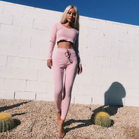 Sexy 2 piece Set Women Long Pant and Top Knitted Hoodie Crop Tee and Leggings Set Autumn Cotton Suit Hooded Fitness Track Suit