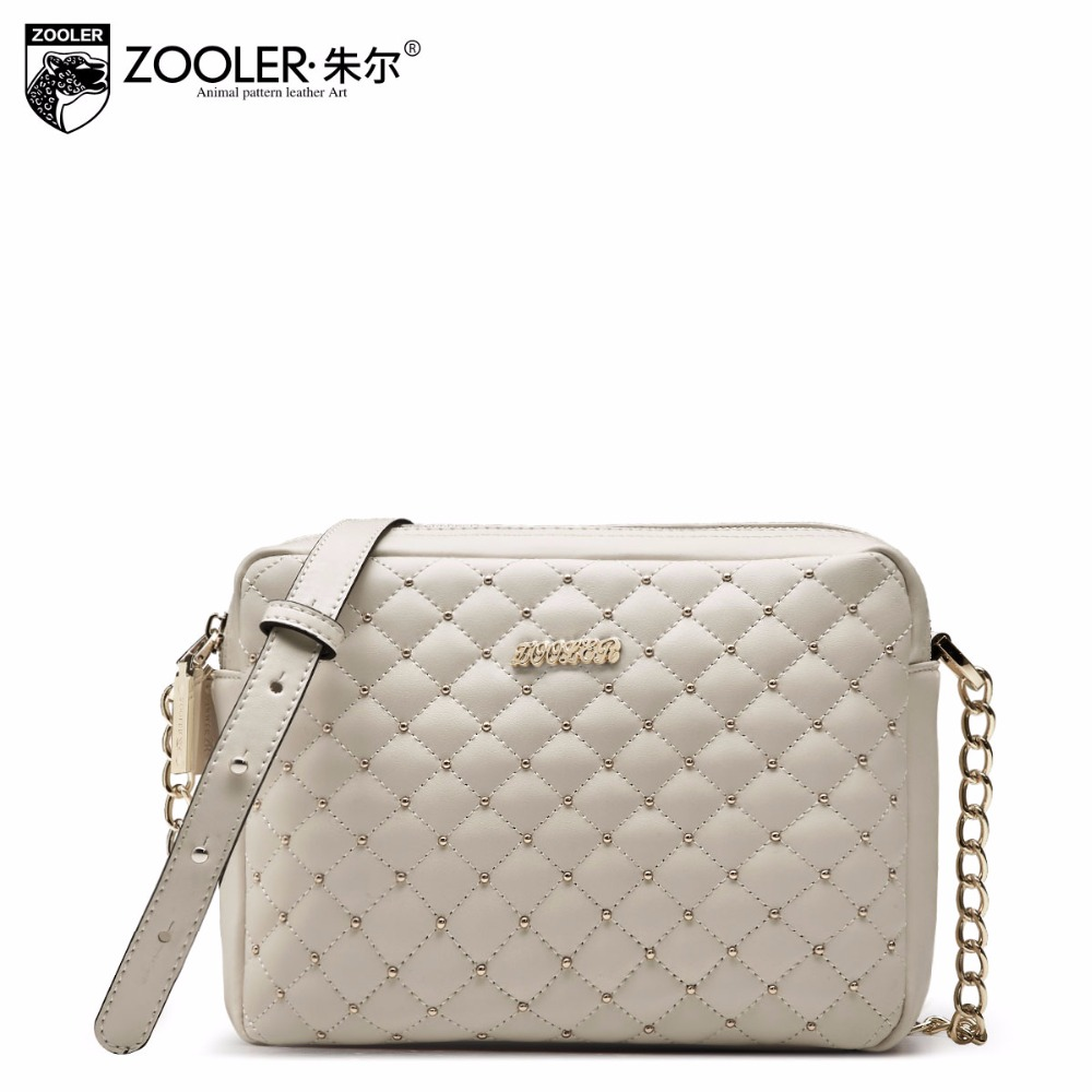 ФОТО Zooler brand women split leather messenger bags Luxury fashion high quality Chain small Rivet shoulder bag crossbody for women