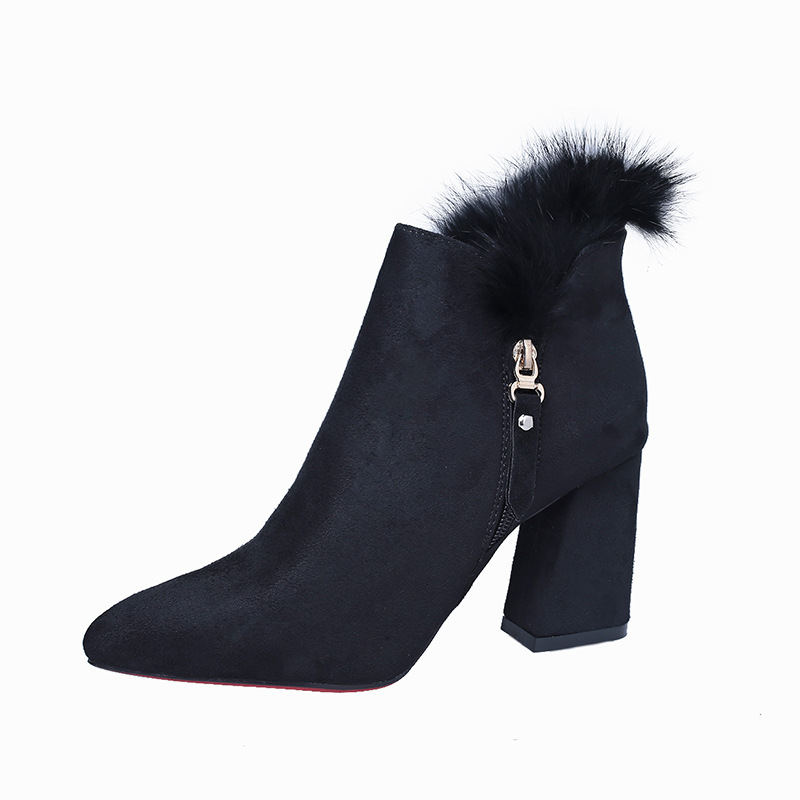 19 autumn and winter new thick with fashion wild high-heeled suede foreign trade womens booties black ljj 021619 autumn and winter new thick with fashion wild high-heeled suede foreign trade womens booties black ljj 0216