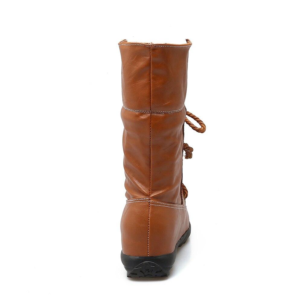 De Plataforma La Las Negro Piel Botas Zapatos Invierno Vintage Aumento Media verde Pantorrilla Mujeres Altura Plus 43 Redonda Tamaño Punta Militar marrón 7Bq5wF