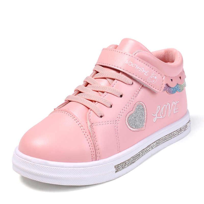 KRIATIV 2019 ฤดูใบไม้ร่วงเด็กใหม่รองเท้าเด็กวัยหัดเดินรองเท้าแตะ Tenis เด็กทารกรองเท้าผ้าใบสีขาวรูปหัวใจรักเด็ก