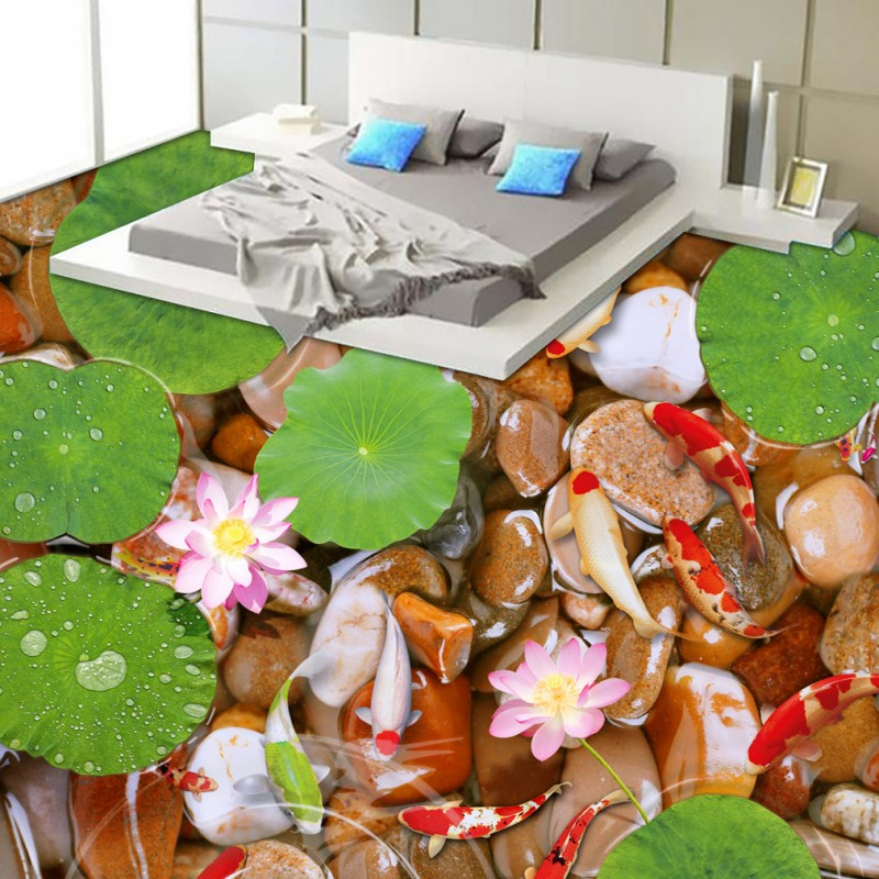 Free Shipping river water goose egg lotus bathroom bedroom 3d floor waterproof self-adhesive living room flooring mural free shipping marble texture parquet flooring 3d floor home decoration self adhesive mural baby room bedroom wallpaper mural