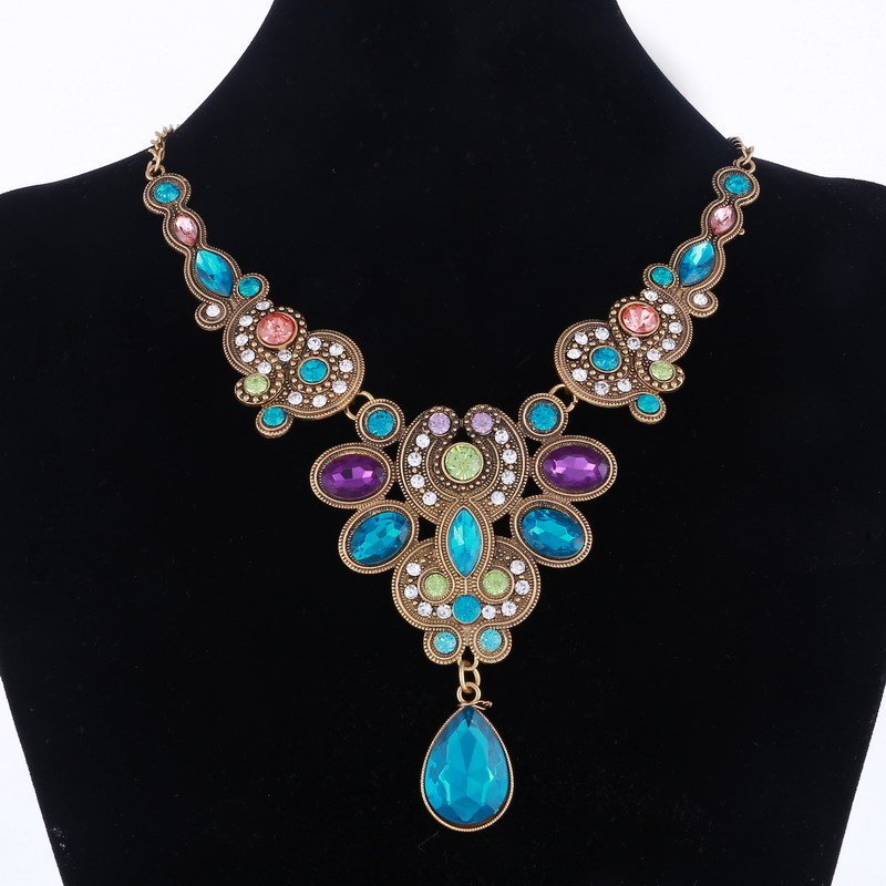 Blue Crystal Necklace for Women Retro Gold Statement Maxi ...