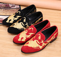 Plus Size 46 Suede Men Dress Shoes Club Loafers Shoes Man Male Party Shoes Gold Embroidery Men Flats Black Red Chaussure Homme