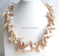 YH@CS >CLASSIC Cross 50mm pink natural freshwater pearls necklace