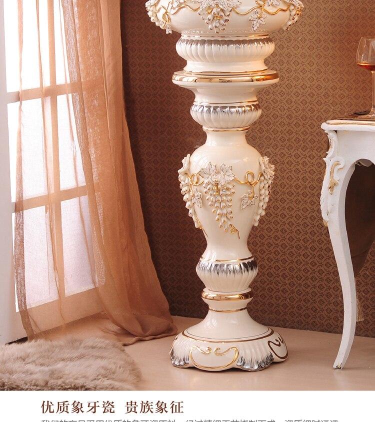 Vasos de cerâmica, arranjos florais de pouso tipo Europa de grande vaso da decoração