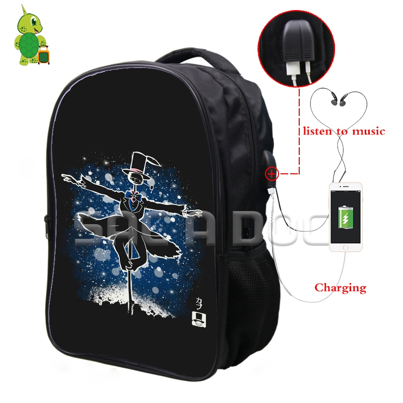 Ghibli Anime Howl's Moving Castle Fluorescence Backpack Multifunction USB Charging Headphone Jack School Bags Teens Travel Bag