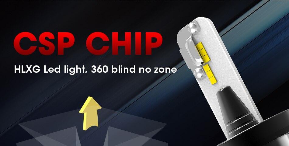 7 hlxg CSP Chip H8 H9 h11 led fog light Dual Hi Lo Beam Bulb 9005 HB3 HB4 H4 H7 led lamp for auto 6000K 8000LM 40W source 12V 24V