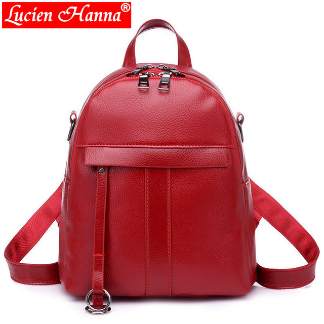 Preppy Style Mini Women Backpack Leather Lady Fashion Backbags Cute Red  School Bags Backpacks For Teenager 7bbc8a426a87d