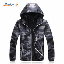 Covrlge Spring Autumn Mens Casual Camouflage Hoodie Luminous Zipper Jacket Clothes Windbreaker Coat Male Outwear MWJ011