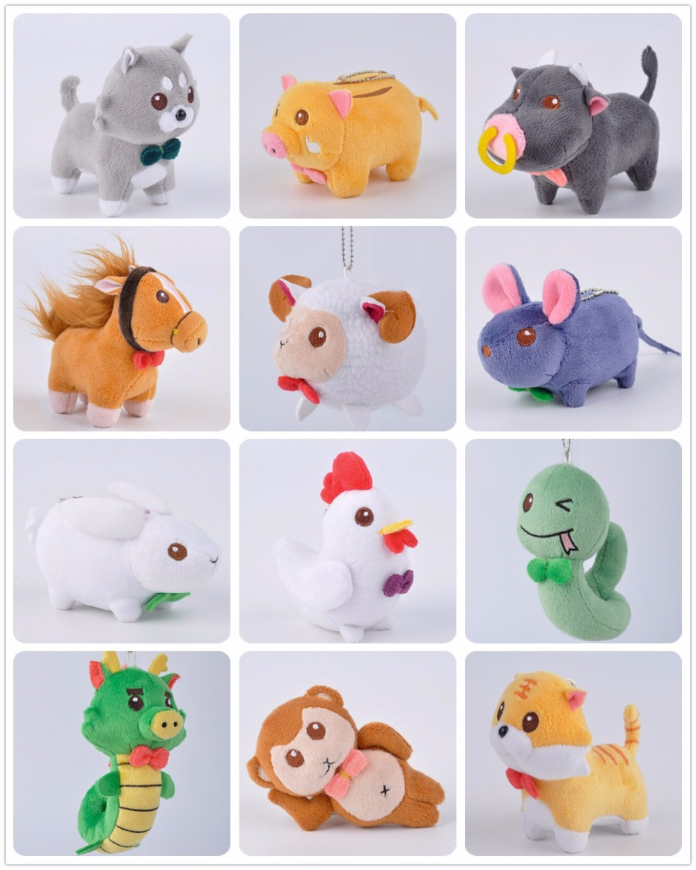 Chinese Zodiac Rat Ox Tiger Rabbit Dragon Snake Horse Sheep Monkey Rooster Dog Pig Dolls Puppet Toy Phone Bag Hang Decorations
