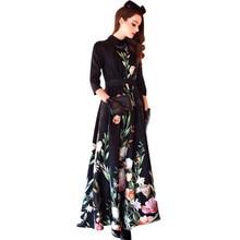 2016 Vintage Jacquard Flowers Print Women Maxi Dress 3/4 Sleeve Turn Down Collar 2016 Spring Summer Dresses Plus Size XXL XXXL