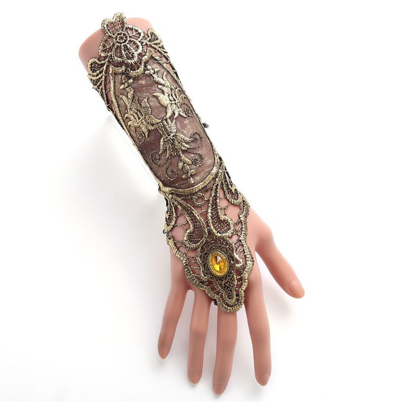 Bridal Vintage Retro Flapper Dress Gloves Hollowed Out Embroidered Lace Fingerless Criss Cross Lace Up Steampunk Wristband