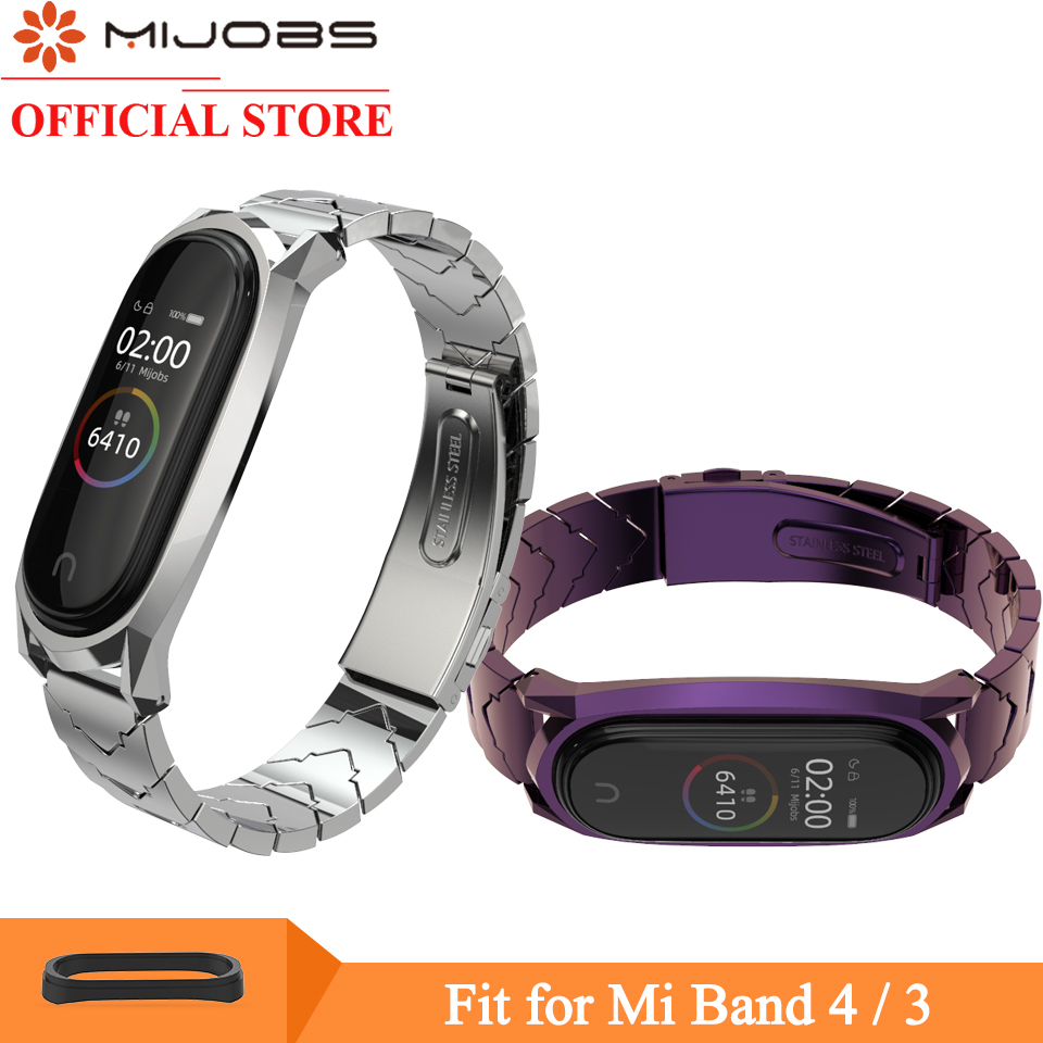 Mijobs Mi Band 4 Strap Metal Bracelet For Xiaomi Mi Band 4 3 Strap Screwless Stainless Steel MiBand 3 Wrist Band Smart Wristband