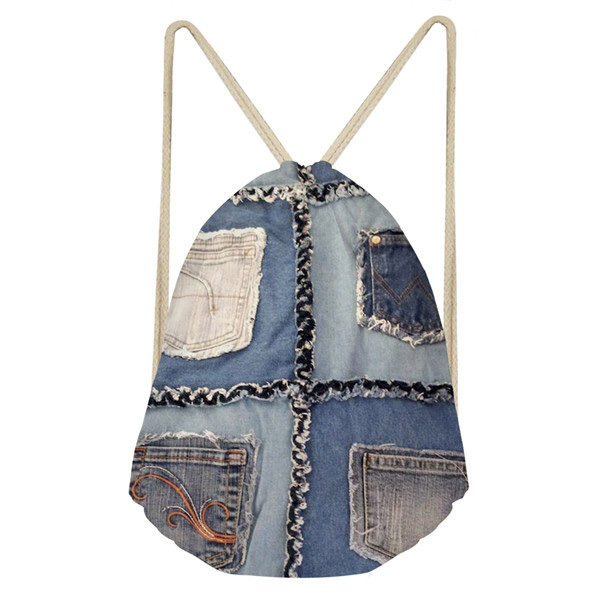 Noisy Designs Retro Women Shoes Bag Denim Print Drawstring Bag Women Backpack For Teenagers Bag Beach Rope Drawstring Sling Bag
