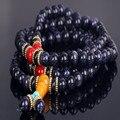 Belleza 8mm108 azul grava piedra oración japa rosario collar de perlas Tramo pulsera mujeres pulseras y brazaletes joyería