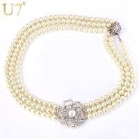 U7 simulado perla collar gargantilla moda Flor del rhinestone joyería de moda de las mujeres 50 cm Collares n371