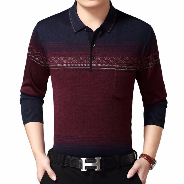 Mature Man Casual Shirt Male Burgundy Wine Red Camel Long Sleeve Top Men  Turn Down Collar dae174dc4c1